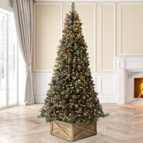 Glitzhome Pre-Lit Green Pine Artificial Christmas Tree with Warm White Lights, Pinecone and Berries