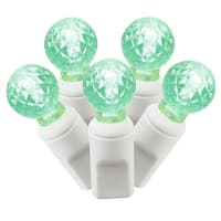 "Set of 100 Green Commercial Grade LED G12 Berry Christmas Lights 4"" Spacing - White Wire"