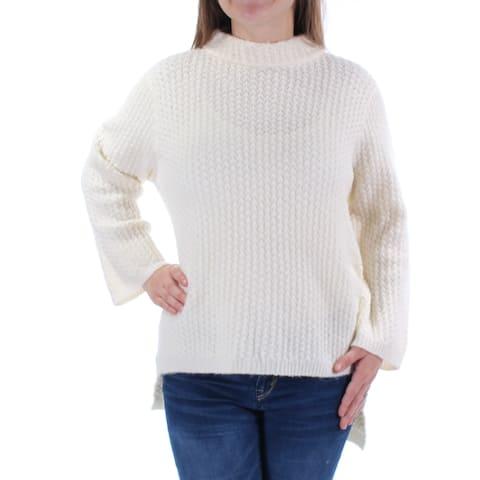 RACHEL ROY Womens Ivory Long Sleeve Jewel Neck Hi-Lo Sweater Size: M