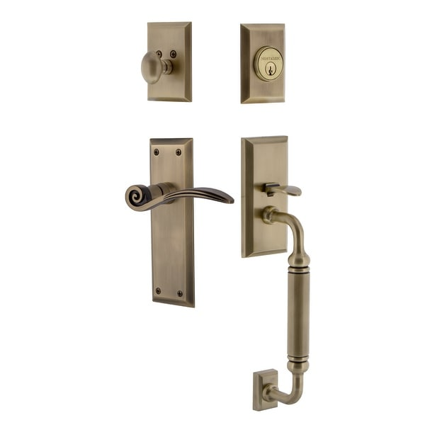 Nostalgic Warehouse NYKSWN_ESET_234_CG_LH New York Left Handed Sectional Single Cylinder Keyed Entry Handleset with C Grip and