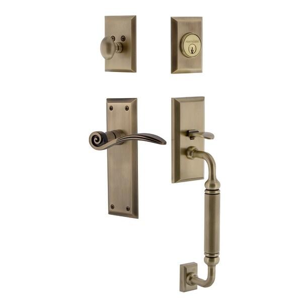 Nostalgic Warehouse NYKSWN_ESET_234_CG_RH New York Right Handed Sectional Single Cylinder Keyed Entry Handleset with C Grip and
