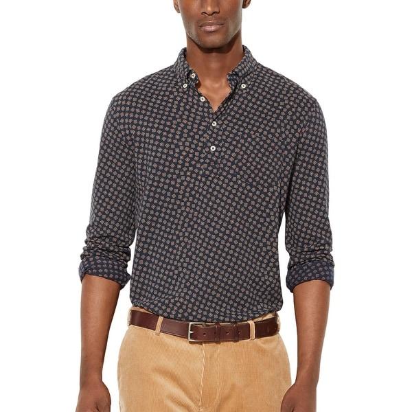 Ralph Lauren RL Featherweight Button-Down Mesh Polo Shirt Navy Blue XX-Large