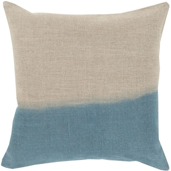 "22"" Teal and Gray Dip Dyed Decorative Throw Pillow - Down Filler"