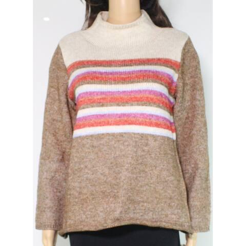 Democracy Women's Sweater Beige Size Large L Pullover Striped Mock
