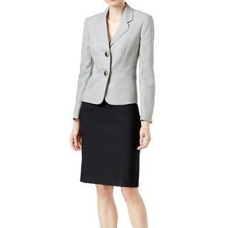 Le Suit NEW Black Women's Size 6 Two Button Colorblock Skirt Suit Set