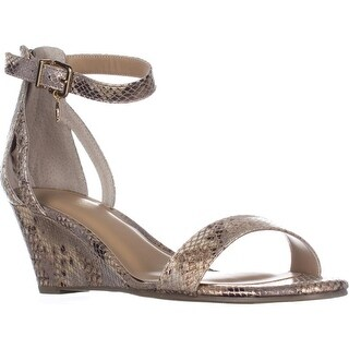 TS35 Areyana Ankle-Strap Wedge Sandals, Champagne Snake