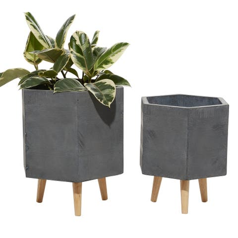 """Set Of 2 Planters With Stand And Pot For Indoor Plants 15""""and 17"""" Hexagon Grey - 15 x 13 x 17"""