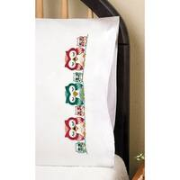 """Stamped Pillowcase Pair For Embroidery 20""""X30""""-Owls"""