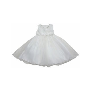 Little Girls Off-White Glitter Trim Embroidered Organza Flower Girl Dress