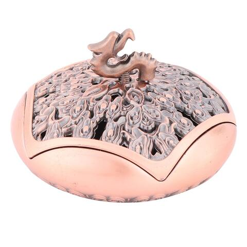 Temple Alloy Round Chinese Style Incense Burner Holder Container Champagne Color