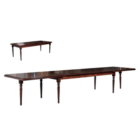 Modrest Anders Extendable Solid Walnut Beechwood Dining Table