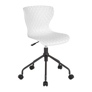 Offex Contemporary Design Curved Back Plastic Office Task Chair - White