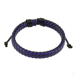 Blue and Black Diagonal Checker Weaved Leather Bracelet with Drawstrings (9 mm) - 7.5 in
