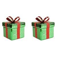 Pack of 2 Green and Red Gift Box Shatterproof Christmas Ornaments 6""