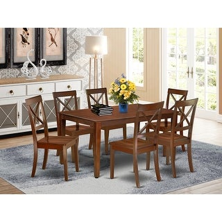 Link to Rectangle 60 Inch Table and Wood Seat Chairs Kitchen Set in Mahogany Finish (Number of Chairs Option) Similar Items in Dining Room & Bar Furniture