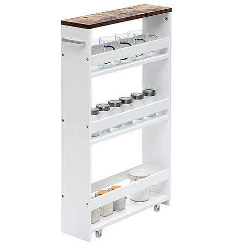 4 Tier Rolling Storage Trolley w/ Convenient Handle & Large Space
