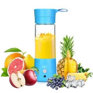 HK 380ml Mini USB Juice Extractor Portable Rechargeable Fruit Blender Crusher, Blue