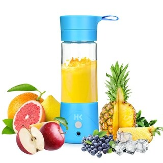 HK 380ml Rechargeable USB Juicer Cup Portable Blender Fruit Mixing Machine Spinner w/ USB Charge Cable Personal Size