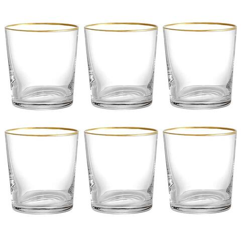 STP Goods Gold Border Low Ball Glasses Set of 6