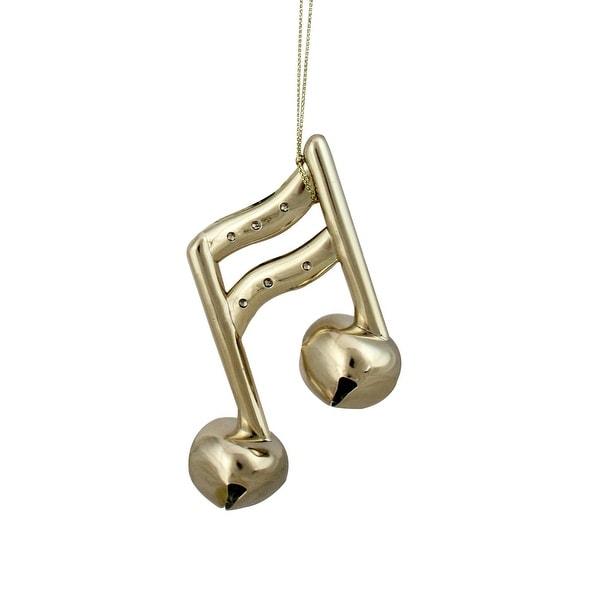 "4.25"" Shiny Gold Sixteenth Musical Note Jingle Bell Christmas Ornament"