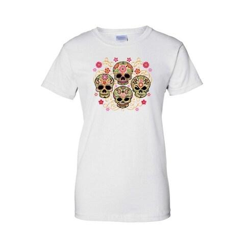 Women's Juniors T-Shirt Sugar Skulls Katrinas Four Flowered Skeleton