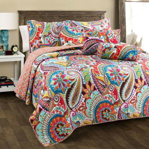 Blazing Paisley Reversible 3-Piece Quilt Set