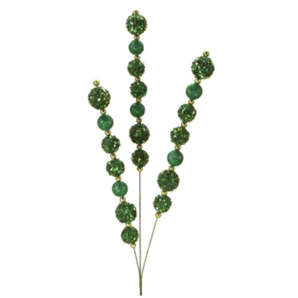 Pack of 6 Green Colored Sparkling Glitter Artificial Bead Sprays 29""
