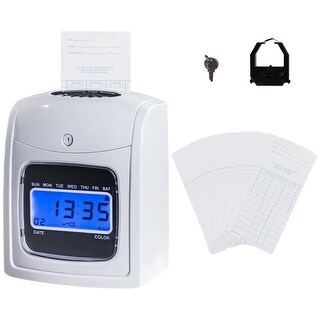 Costway Electronic Recorder Time Punch Clock LCD Display w/Card Monthly/Weekly/Bi-weekly - as pic