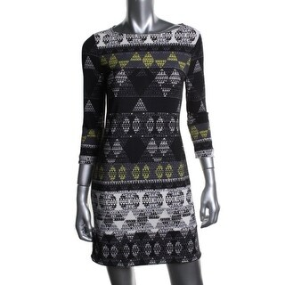 BCBG Max Azria Womens Petites Calico Matte Jersey Printed Casual Dress - pl