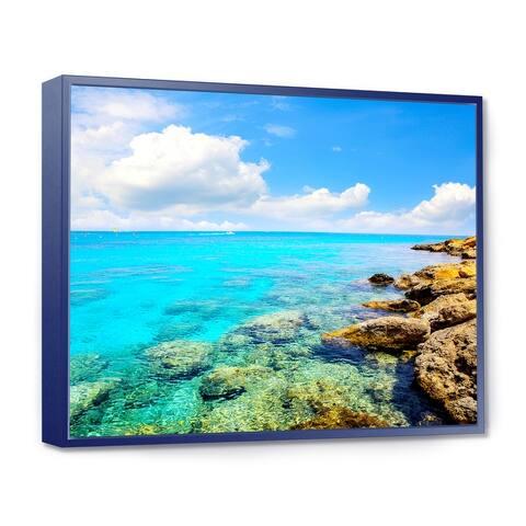 Designart 'Bright Summer Day in Sea' Seascape Framed Canvas Art Print