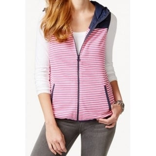 Tommy Hilfiger NEW Pink Women's Size Large L Striped Hooded Vest Jacket