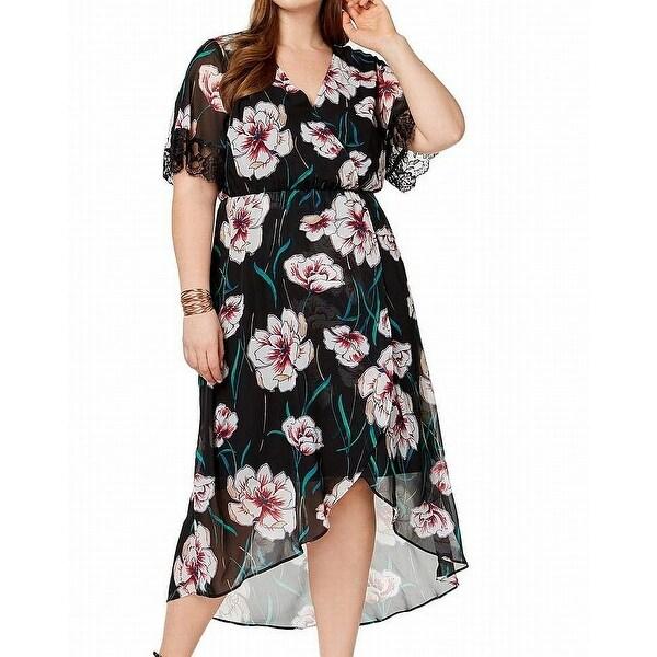NY Collection Black Women's Size 1X Plus Floral Faux-Wrap Dress
