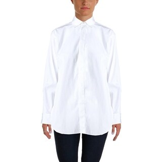 Lauren Ralph Lauren Womens Button-Down Top Poplin Hi-Low