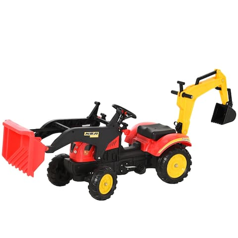Aosom Ride-On Excavator Construction Equipment Toy with Front Red Dirt Plow Bucket, Back Digging Tool, & Trailer