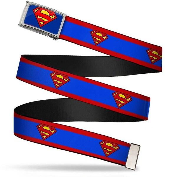 Superman Fcg Blue Chrome Superman Shield Stripe Red Blue Webbing Web Belt