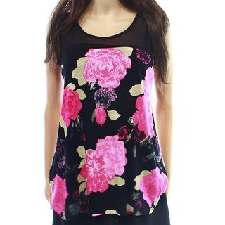 INC NEW Black Pink Women's Medium M Illusion Floral Print Tank Blouse