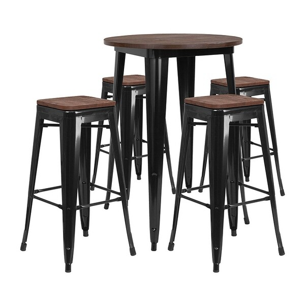 """Overstock Bar Table: Shop Offex 30"""" Round Black Metal Bar Table Set With Wood"""