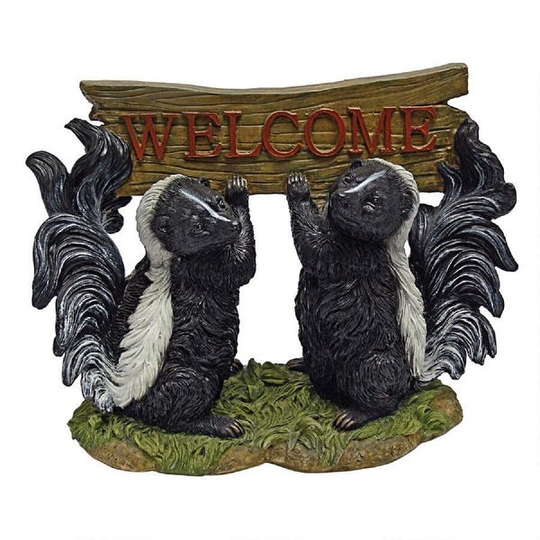 "10.5"" Duo of Skunks Holding Welcome Sign - N/A"