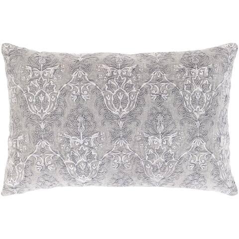 Wade Hand Embroidered Damask 20-inch Lumbar Throw Pillow