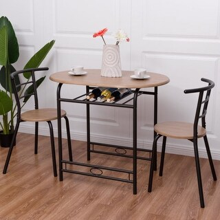dining table with 2 chairs. costway 3 pcs dining set table and 2 chairs home kitchen breakfast bistro pub furniture with