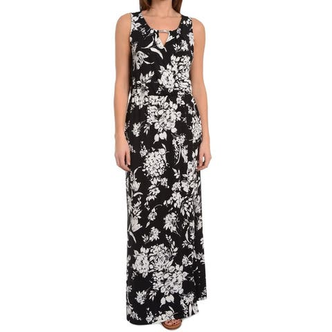 d9b765a7a99 NY Collection Black Womens Size Small S Floral Print Maxi Dress