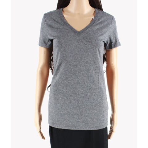 Reebok Women's T-Shirt Dark Gray Size Small S V-Neck Sleeve Logo