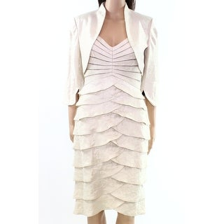 Adrianna Papell Ivory Womens Tiered 2-Piece Jacket Sheath Dress