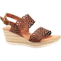 Dromedaris Women's Libby Quarter Strap Sandal Cognac Waxed Leather