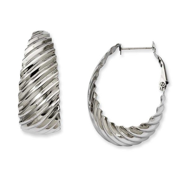 Stainless Steel 35mm Textured Oval Hoop Earrings