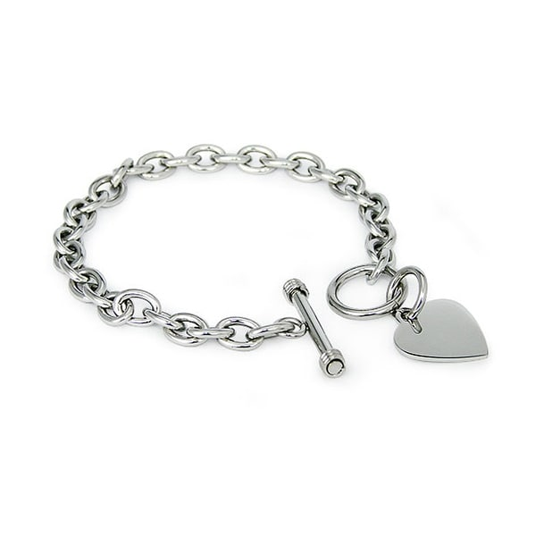 Stainless Steel Heart Tag Bracelet 7.25 Inches