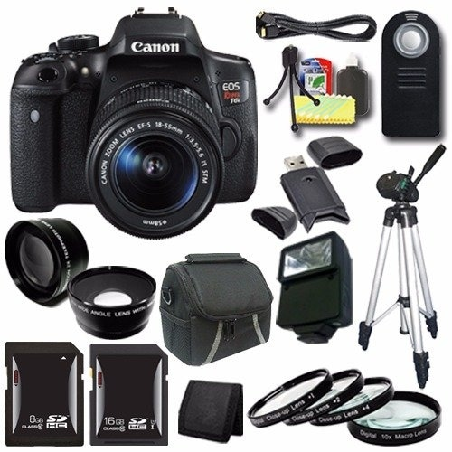 Canon EOS Rebel T6i DSLR Camera with EF-S 18-55mm f/3.5-5.6 IS STM Lens 0591C003 + 16GB SDHC Card + 8GB SDHC Card Saver Bundle
