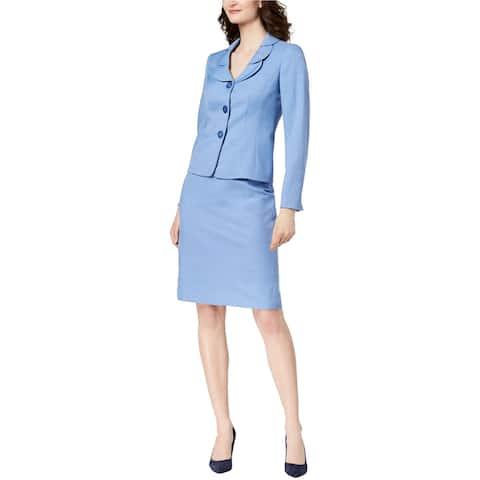Le Suit Womens Melange Three Button Blazer Jacket, blue, 14