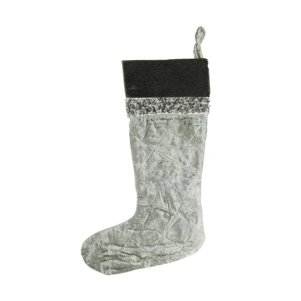 "22"" Silver Quilted Velveteen Sequin Embellished Decorative Christmas Stocking with Leather Cuff"
