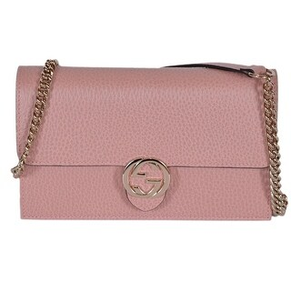 "Gucci 510314 Pink Leather Interlocking GG Crossbody Wallet Bag Purse Clutch - Soft Pink - 7.5"" x 4.5"" x 2"""